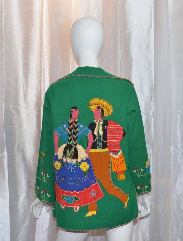 Vintage Mexican Tourist Felt Knit Jacket 3
