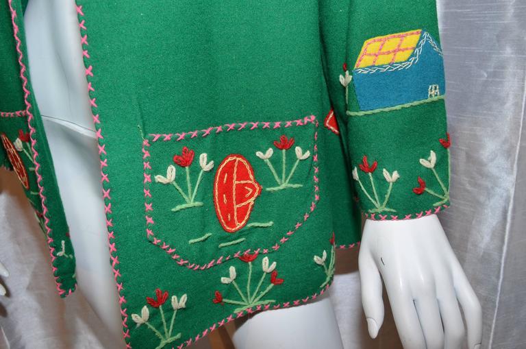 Vintage Mexican Tourist Felt Knit Jacket 6