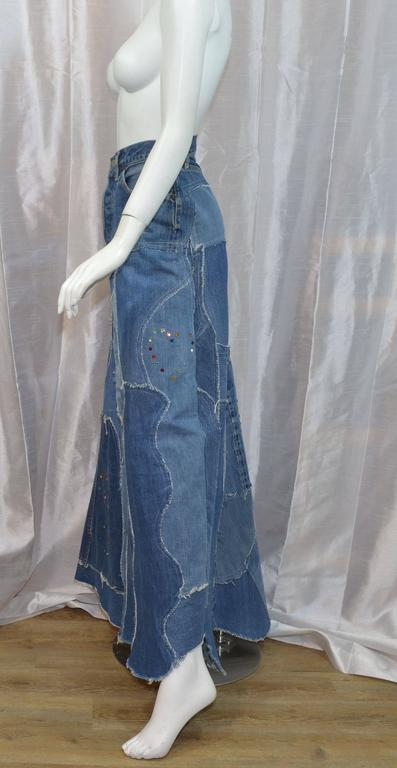 Levis Denim Big E PatchworkCustom Maxi Skirt 2