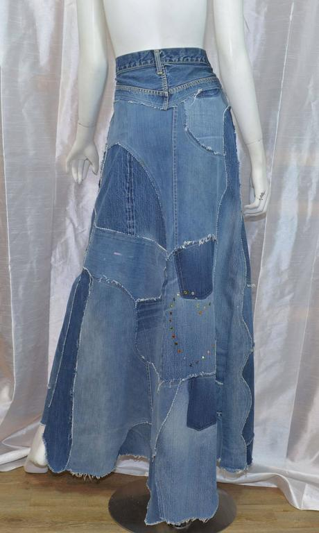 Levis Denim Big E PatchworkCustom Maxi Skirt 3