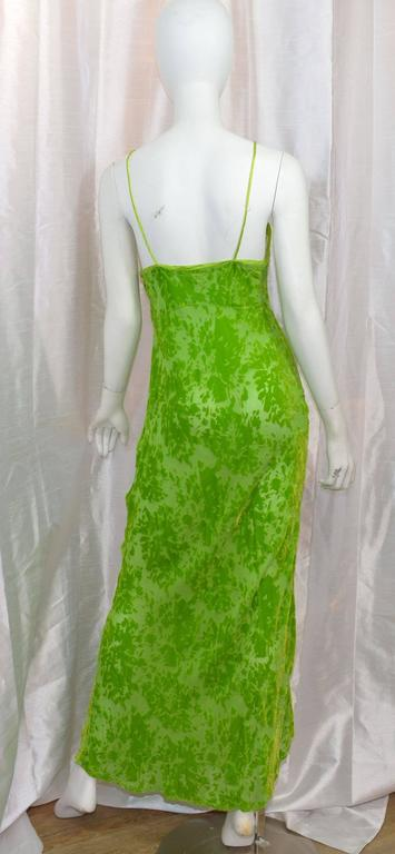 Green Voyage Cut Velvet Slip Maxi Dress For Sale