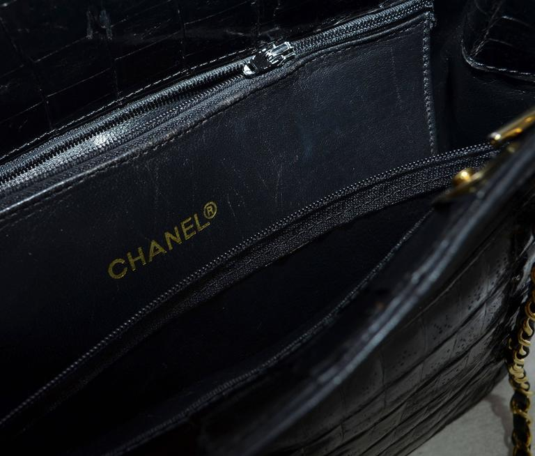 Chanel Black Crocodile Tote With Gold Hardware For Sale 1