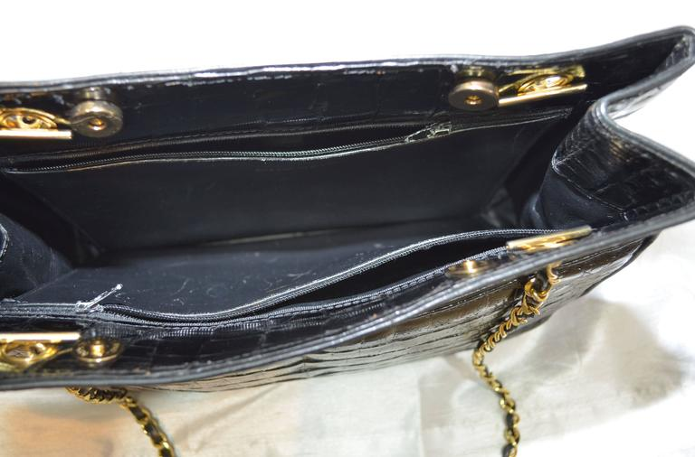 Women's or Men's Chanel Black Crocodile Tote With Gold Hardware For Sale