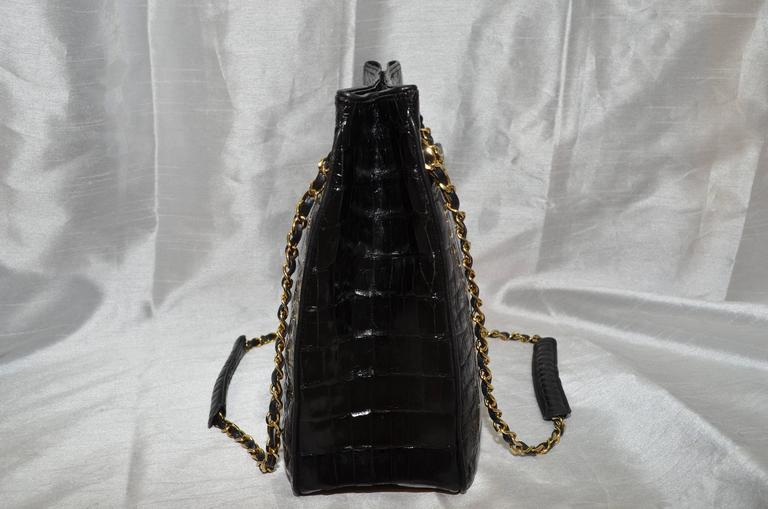 Chanel Black Crocodile Tote With Gold Hardware 3