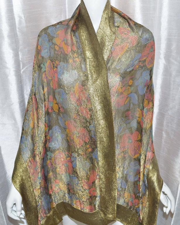 Brown Liberty of London 1920s Vintage Lame Shawl For Sale