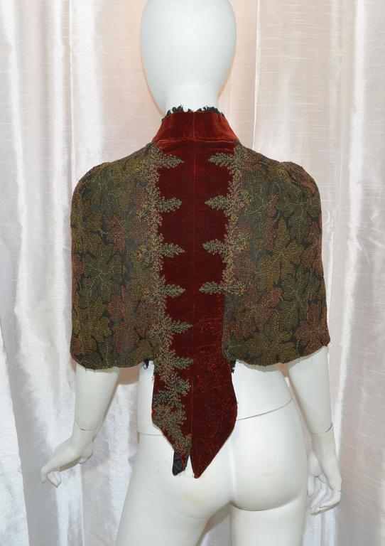 Brown Victorian Sara Mayer A. Morhange & Cie 1880s Beaded Shawl From France For Sale