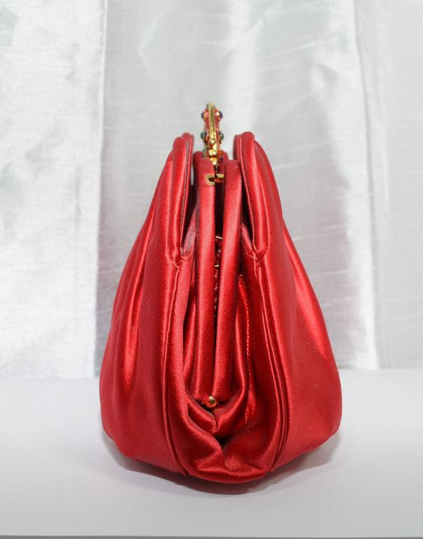 Red Judith Leiber Satin Clutch with Butterfly Closure For Sale