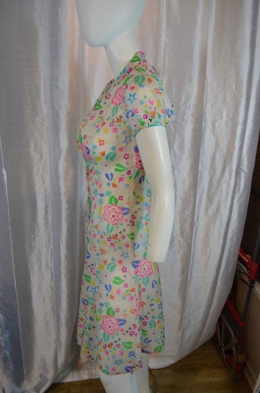Chanel Floral Print Silk Dress Spring 1996 At 1stdibs