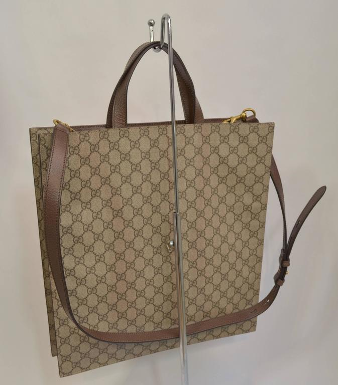 Brown Gucci Supreme Embroidered Butterfly Tote 2016/7 For Sale