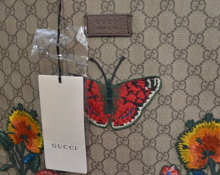Gucci Supreme Embroidered Butterfly Tote 2016/7 For Sale 4