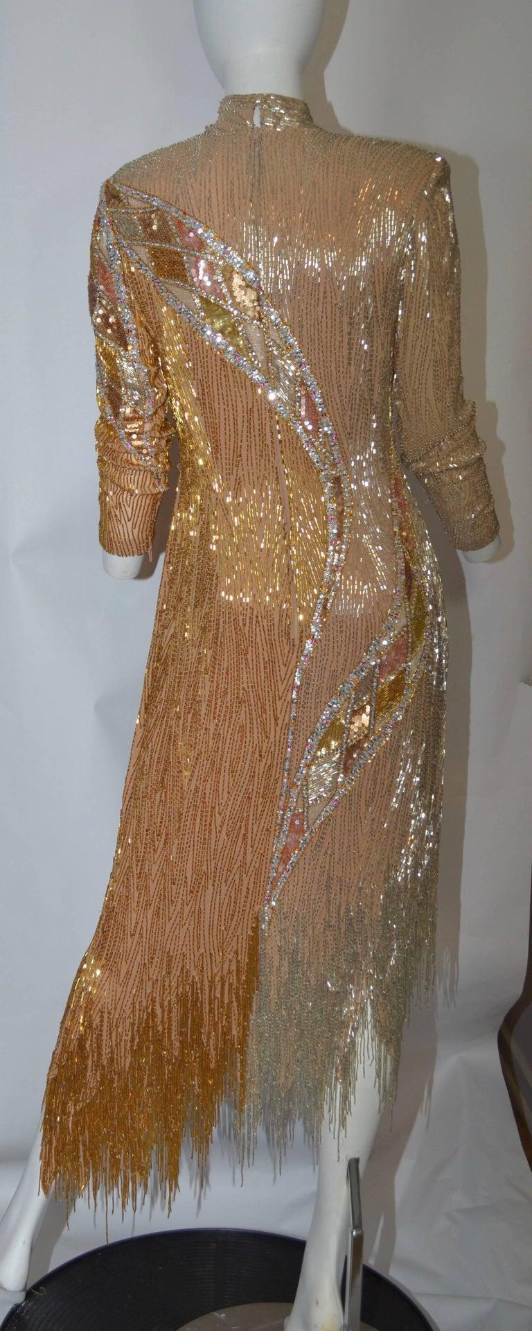 Bob Mackie 1980\'s Gold Fringe Beaded Dress For Sale at 1stdibs