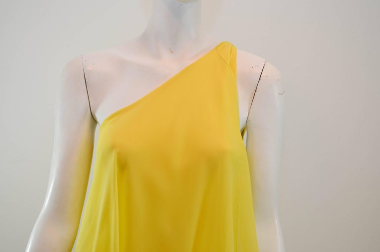 Halston 1970s Silk Chiffon One-Shoulder Gown With Shawl 6