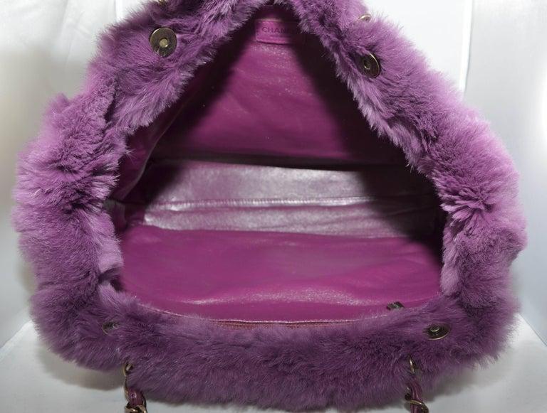 Women's Chanel Lapin Fur Purple Tote For Sale