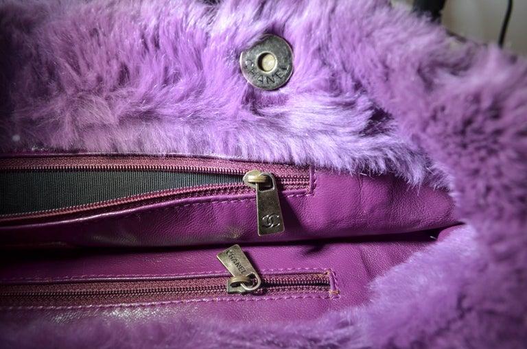 Chanel Lapin Fur Purple Tote For Sale 2