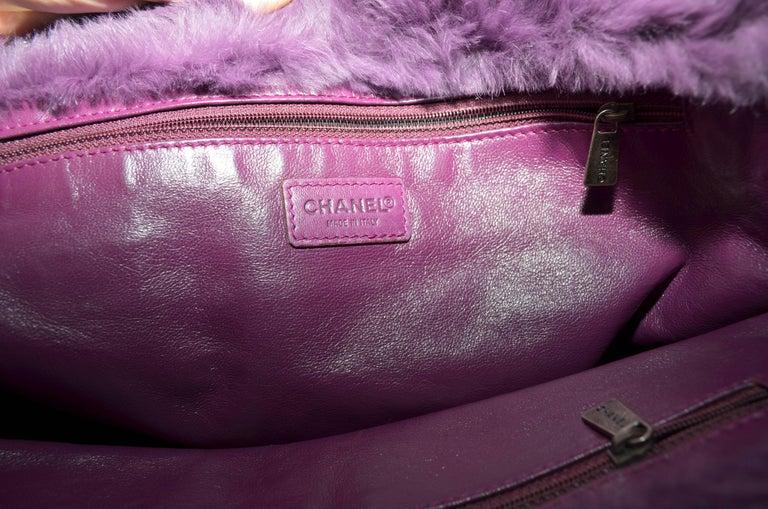 Chanel Lapin Fur Purple Tote For Sale 1