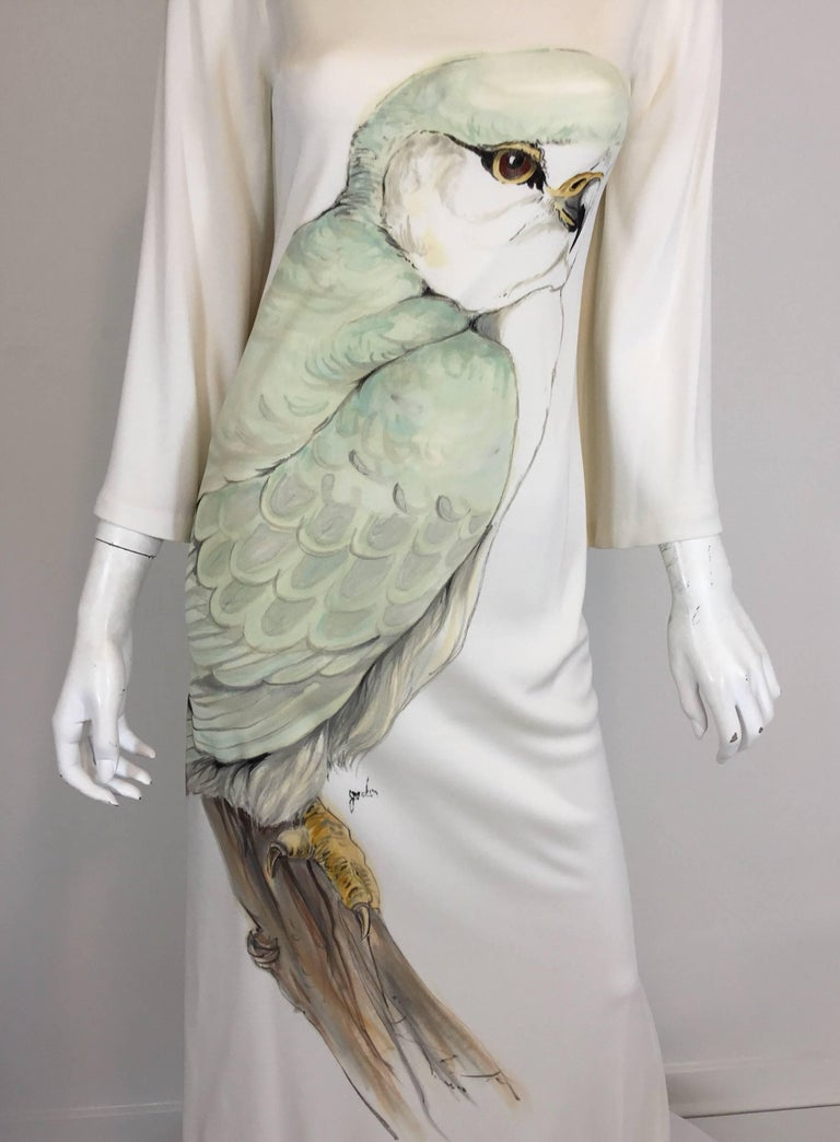 Hand Painted Jersey Kaftan Dress In Good Condition For Sale In Carmel by the Sea, CA