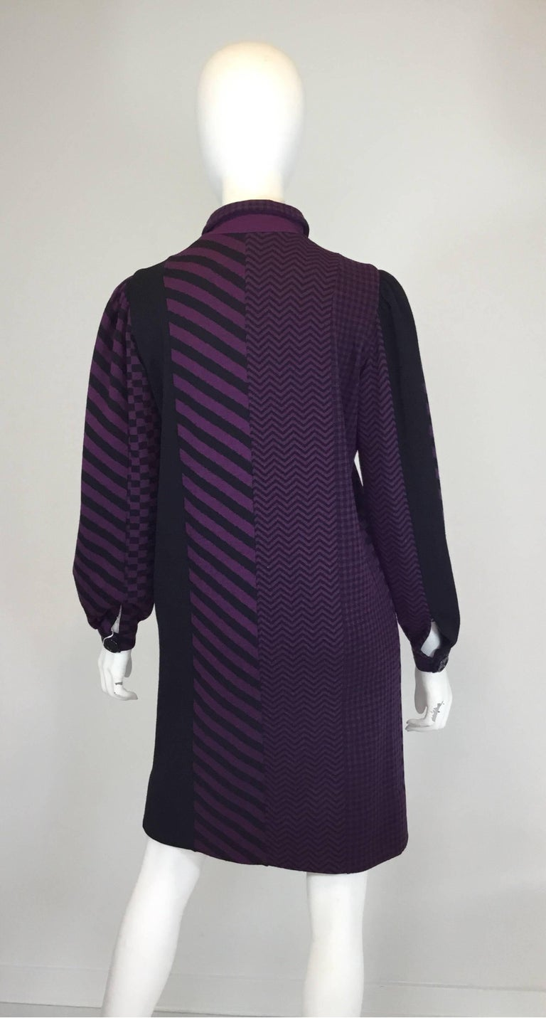 Black Rudi Gernreich 70's Vintage Wool Knit Multi-pattern Dress  For Sale