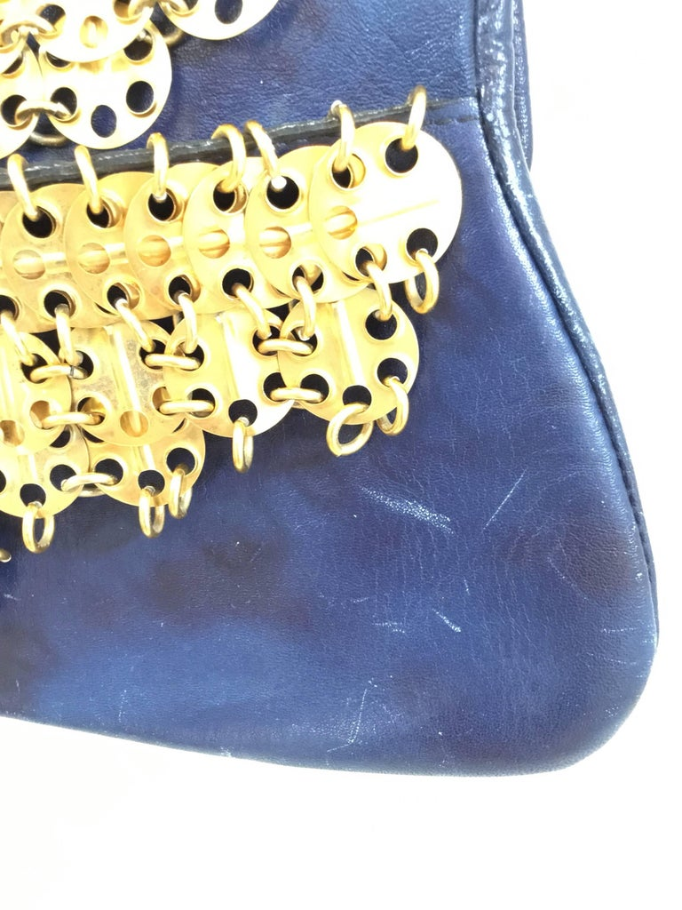 Paco Rabanne Vintage 1960s Leather Bag with Gold Disks For Sale 2