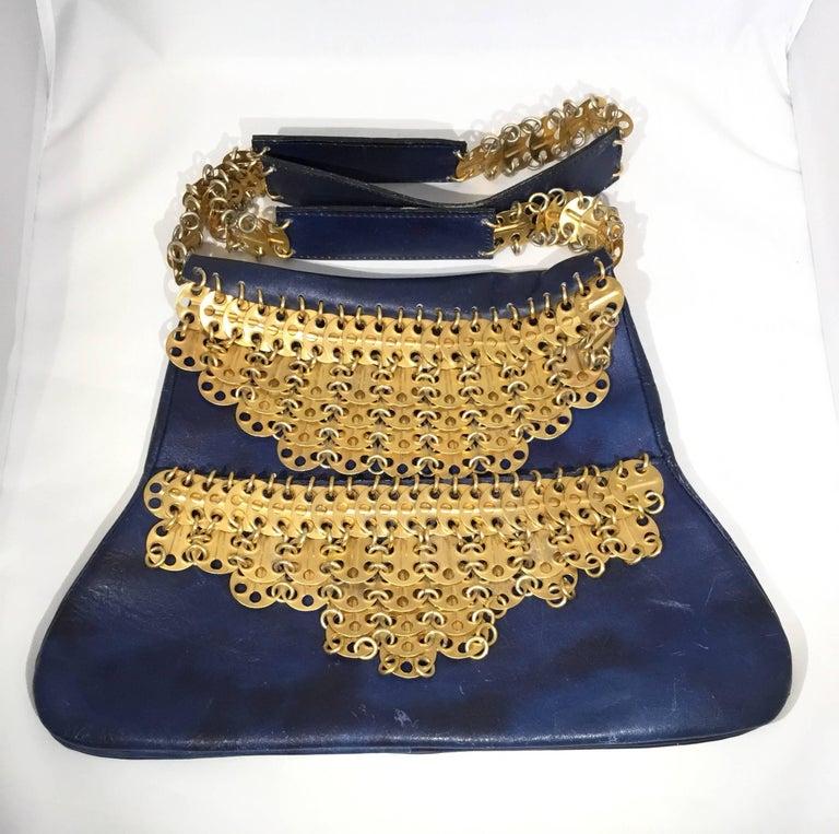 Black Paco Rabanne Vintage 1960s Leather Bag with Gold Disks For Sale