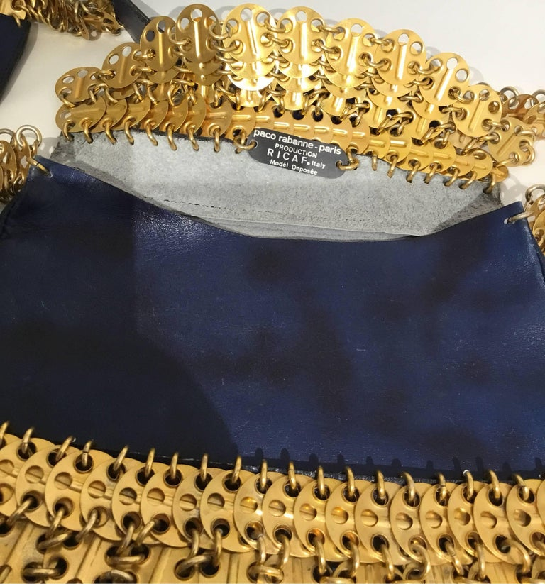 Paco Rabanne Vintage 1960s Leather Bag with Gold Disks For Sale 1