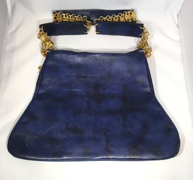 Paco Rabanne Vintage 1960s Leather Bag with Gold Disks In Good Condition For Sale In Carmel by the Sea, CA