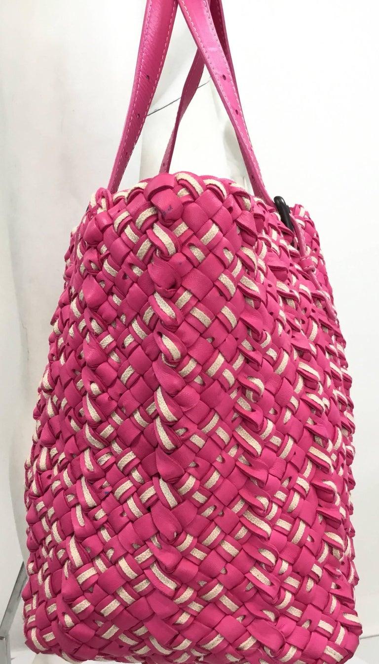 83329999eb Bottega Veneta Pink Intrecciato Cabat Linen   Leather Tote For Sale 6