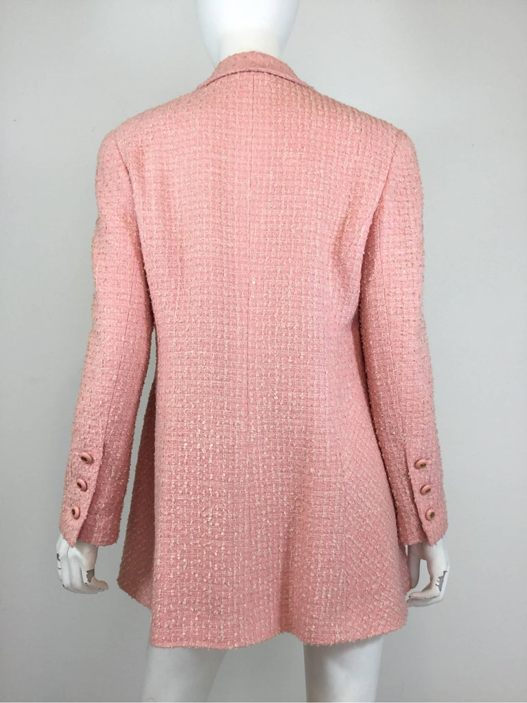 Chanel Pink Vintage Open Long Jacket In Excellent Condition For Sale In Carmel by the Sea, CA
