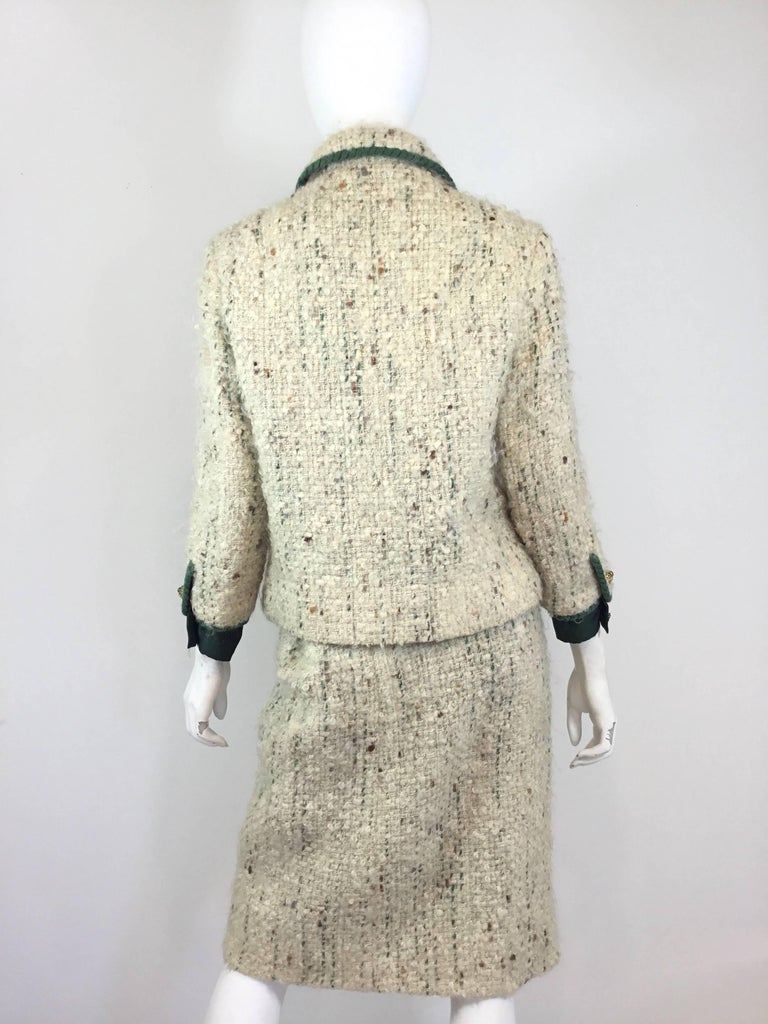 Chanel Couture Tweed Skirt Suit, 1950-1960s In Excellent Condition For Sale In Carmel by the Sea, CA