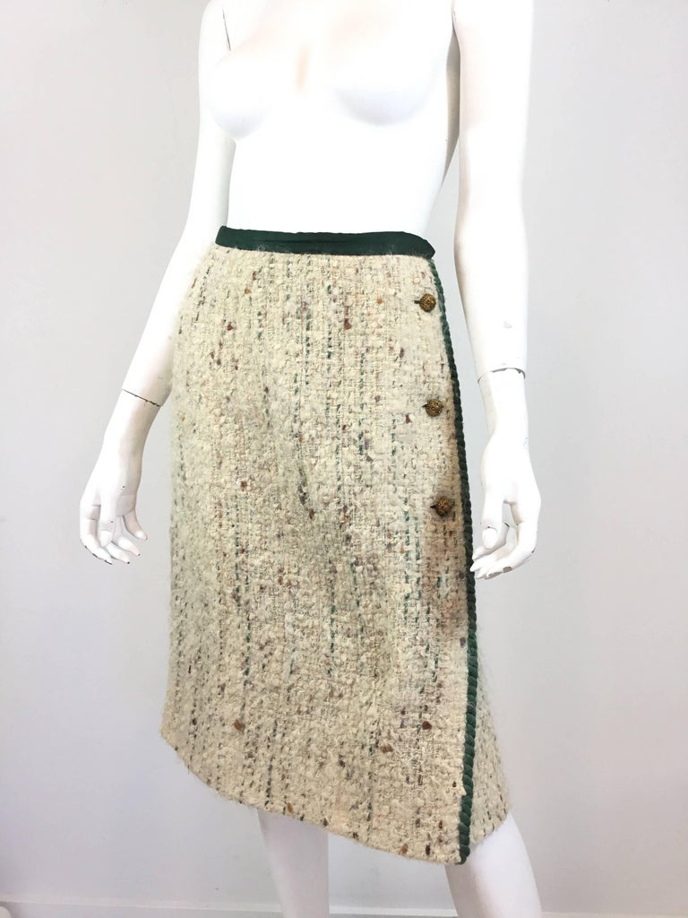 Women's Chanel Couture Tweed Skirt Suit, 1950-1960s For Sale