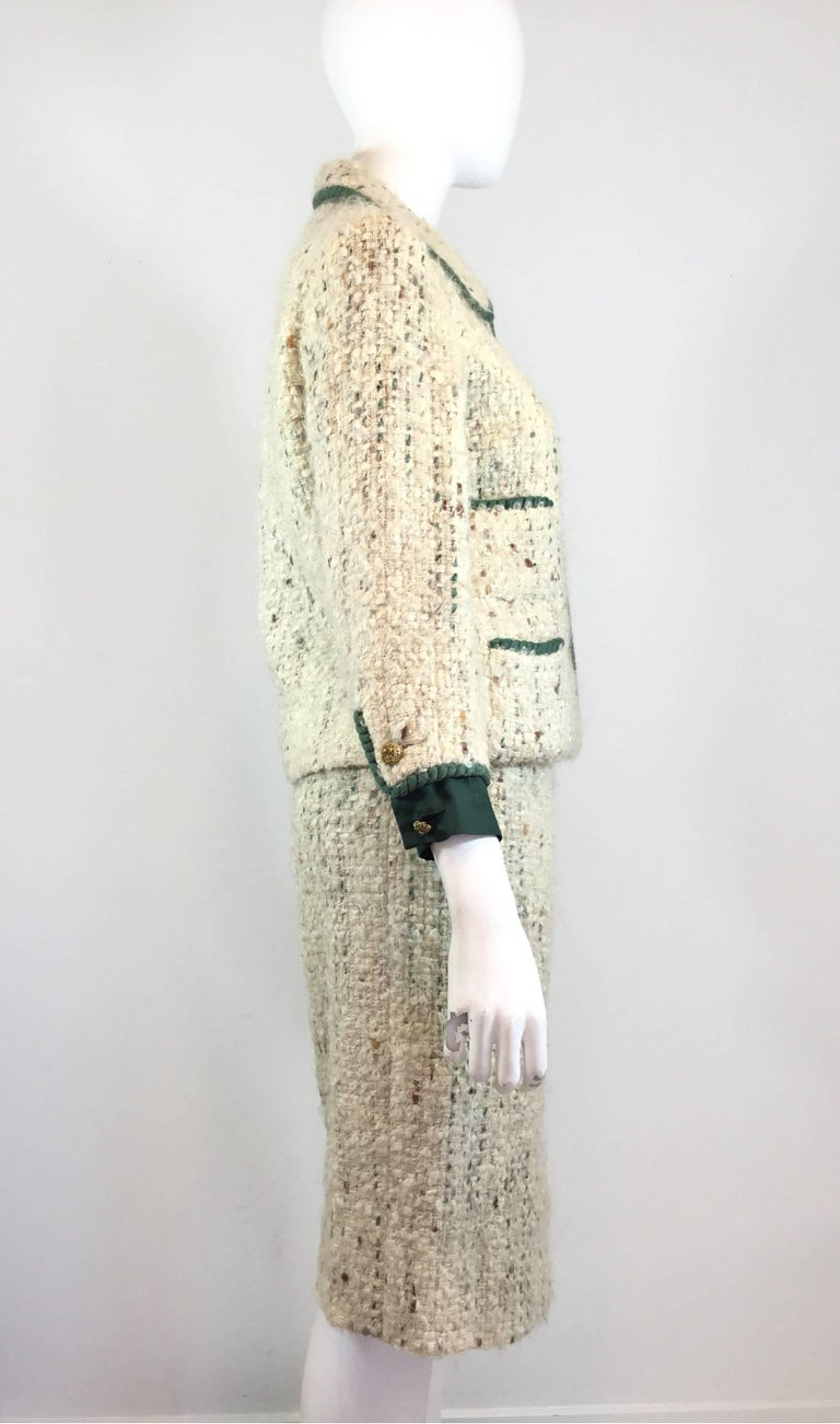 Beige Chanel Couture Tweed Skirt Suit, 1950-1960s For Sale