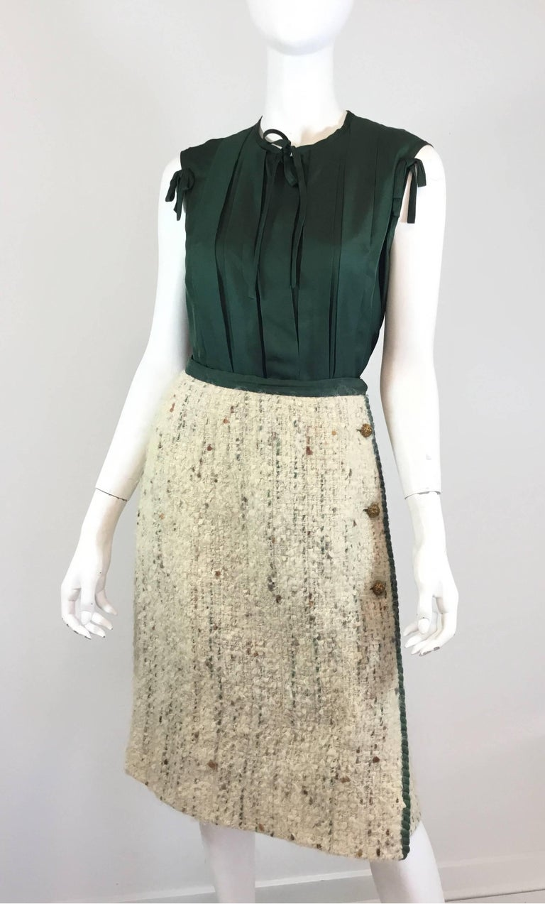 Chanel Couture Tweed Skirt Suit, 1950-1960s For Sale 1
