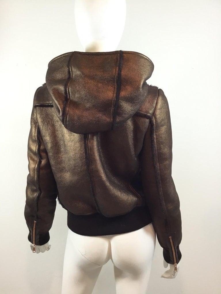Black Dolce & Gabbana Shearling Hooded Jacket  For Sale