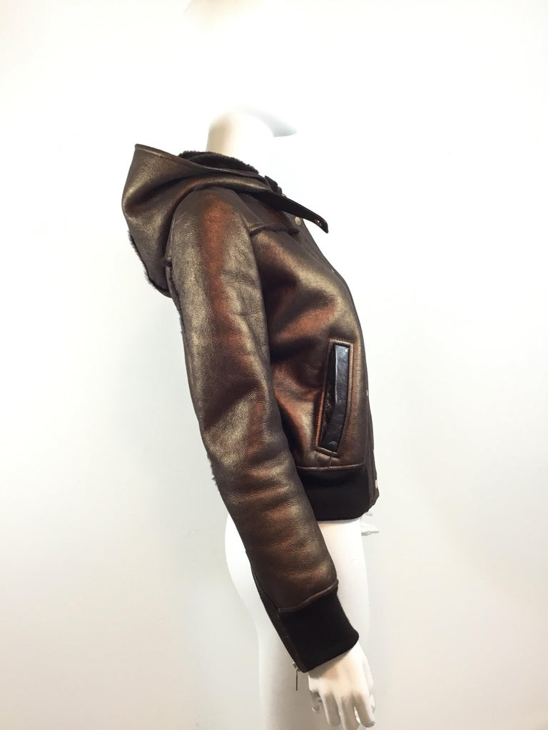 Dolce & Gabbana Shearling Hooded Jacket  In Excellent Condition For Sale In Carmel by the Sea, CA