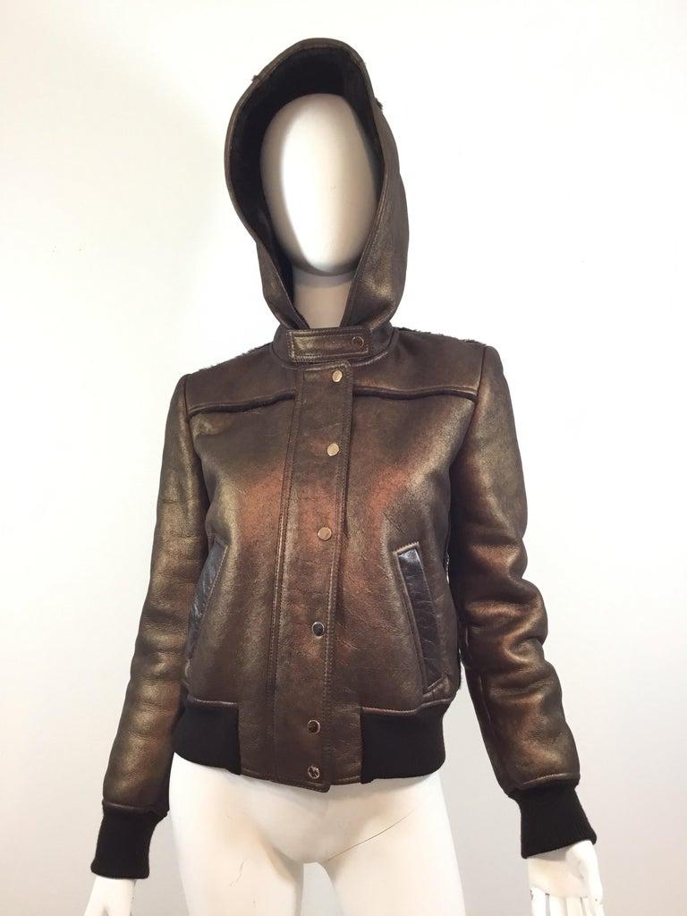 Women's Dolce & Gabbana Shearling Hooded Jacket  For Sale