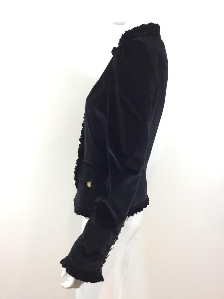 Black Dolce & Gabbana Velvet Jacket with Ruffle Trim For Sale