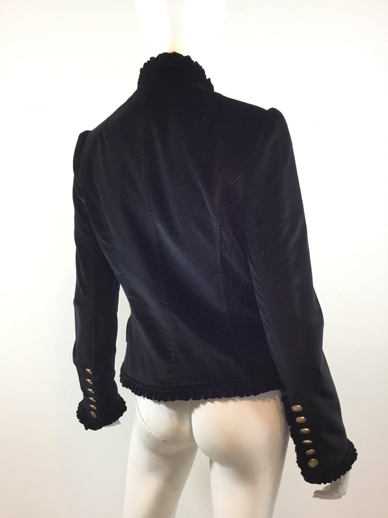 Dolce & Gabbana Velvet Jacket with Ruffle Trim In Excellent Condition For Sale In Carmel by the Sea, CA