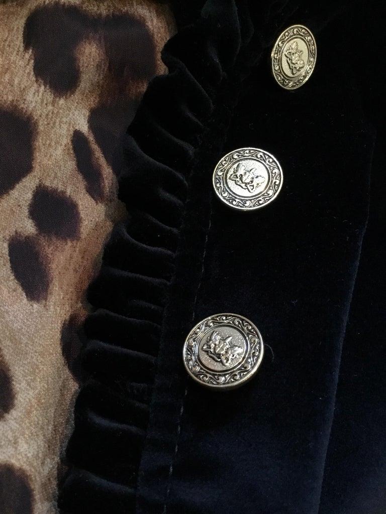 Women's Dolce & Gabbana Velvet Jacket with Ruffle Trim For Sale