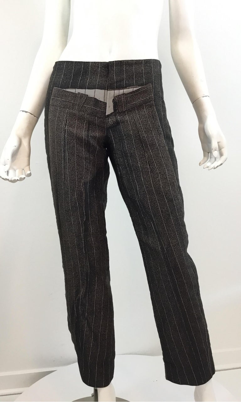 """Jean Paul Gaultier pants on pants print design with pinstripes. Pants are a size 6, made in Italy. 100% polyester.   Waist 30"""", hips 36"""", inseam 29"""", rise 9.5"""", length 37"""""""