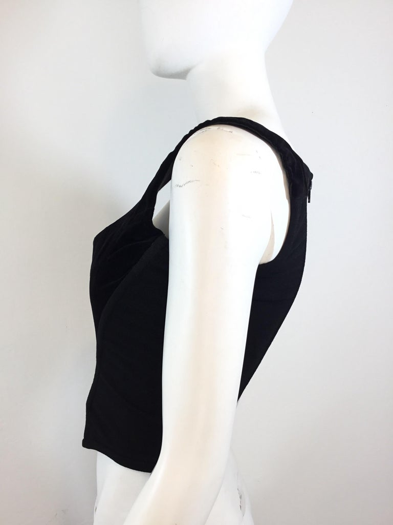 """Vivienne Westwood Vintage bustier top in velvet, labeled Size 14, boned bust and back panel with a zipper fastening. Made in England. Excellent vintage condition.  Bust 32"""", length 14"""""""