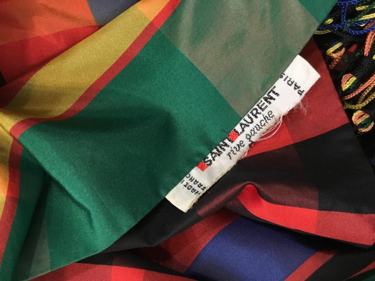 Yves Saint Laurent Tartan Taffeta Vintage Scarf/Shawl with Fringe In Good Condition For Sale In Carmel by the Sea, CA