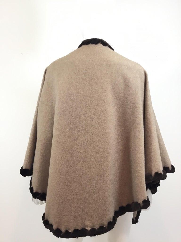 Women's or Men's Loro Piana Cashmere Cape with Sheared Mink Fur Trim For Sale
