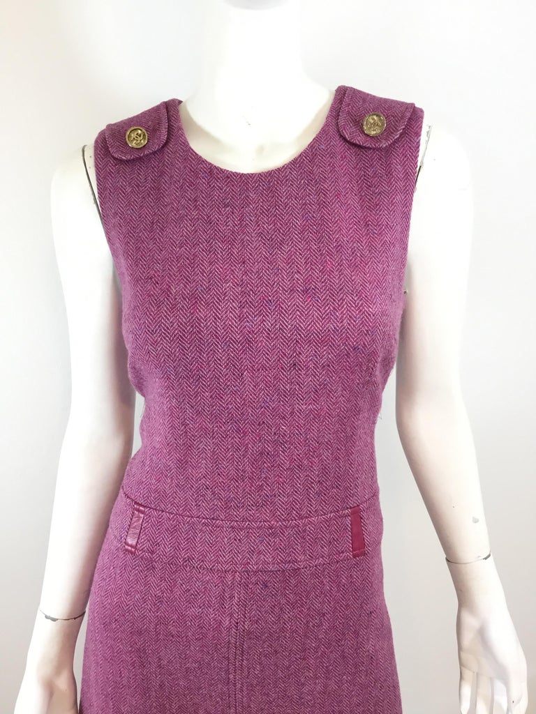 Chanel Purple Tweed Knit Dress In Excellent Condition For Sale In Carmel by the Sea, CA