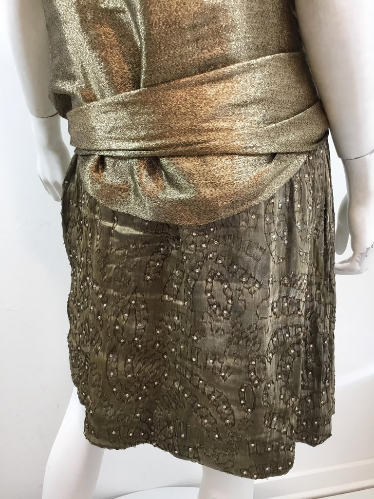 Gold 1920's Lamé Bead Embellished Evening Dress For Sale 4