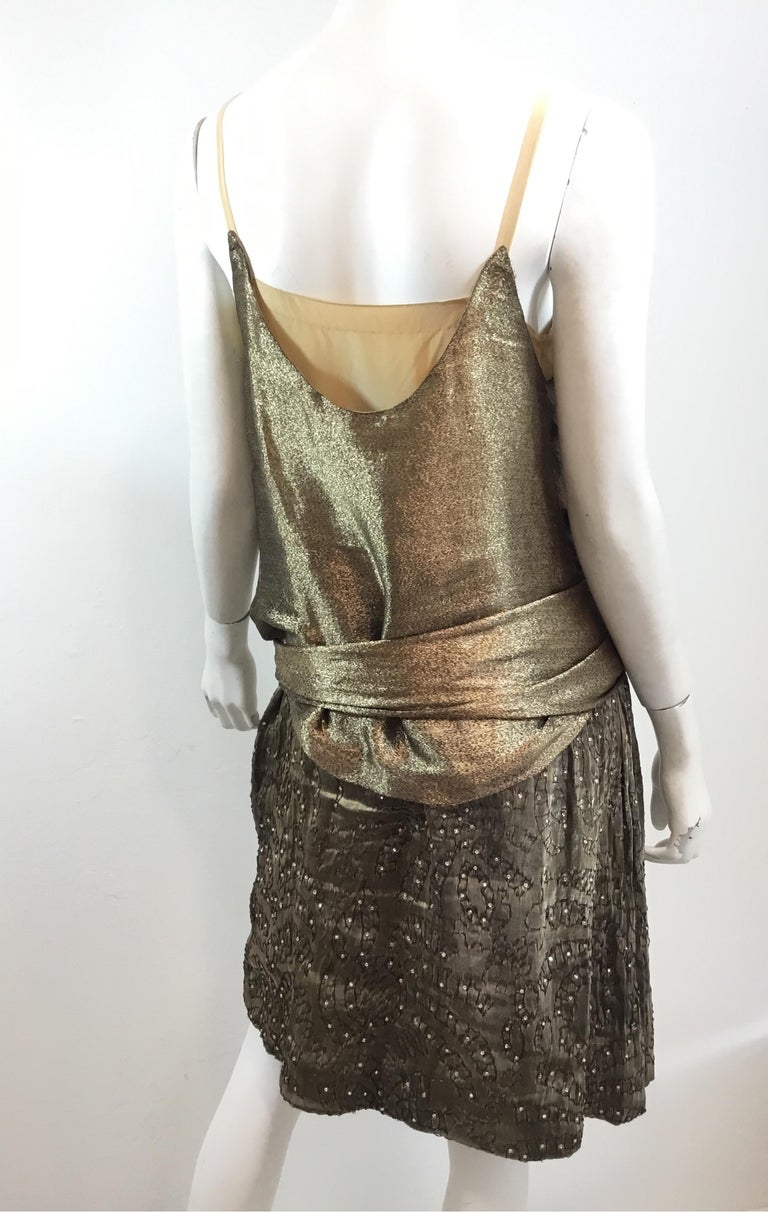 Gold 1920's Lamé Bead Embellished Evening Dress For Sale 3