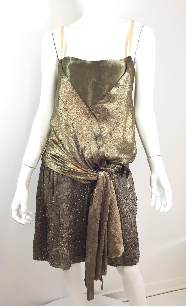Brown Gold 1920's Lamé Bead Embellished Evening Dress For Sale