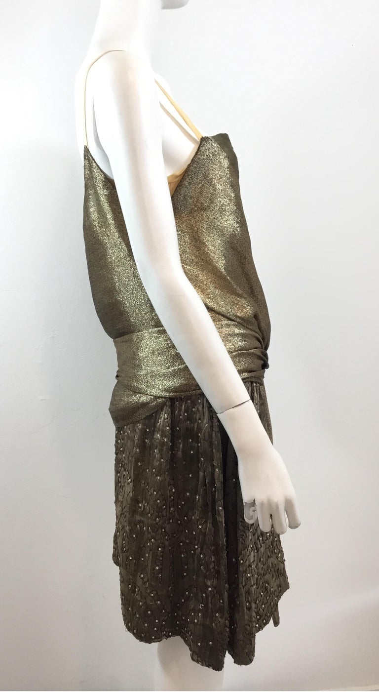Gold 1920's Lamé Bead Embellished Evening Dress For Sale 5