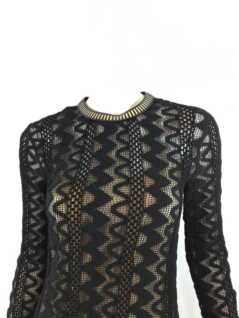 Black Louis Vuitton 2015 Spring Knitted Dress with Leather Trim For Sale