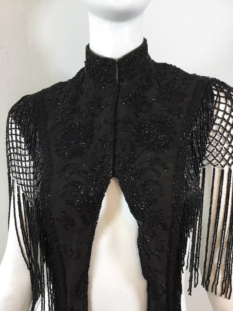 Victorian Black Beaded Collar Circa 1890's In Good Condition For Sale In Carmel by the Sea, CA