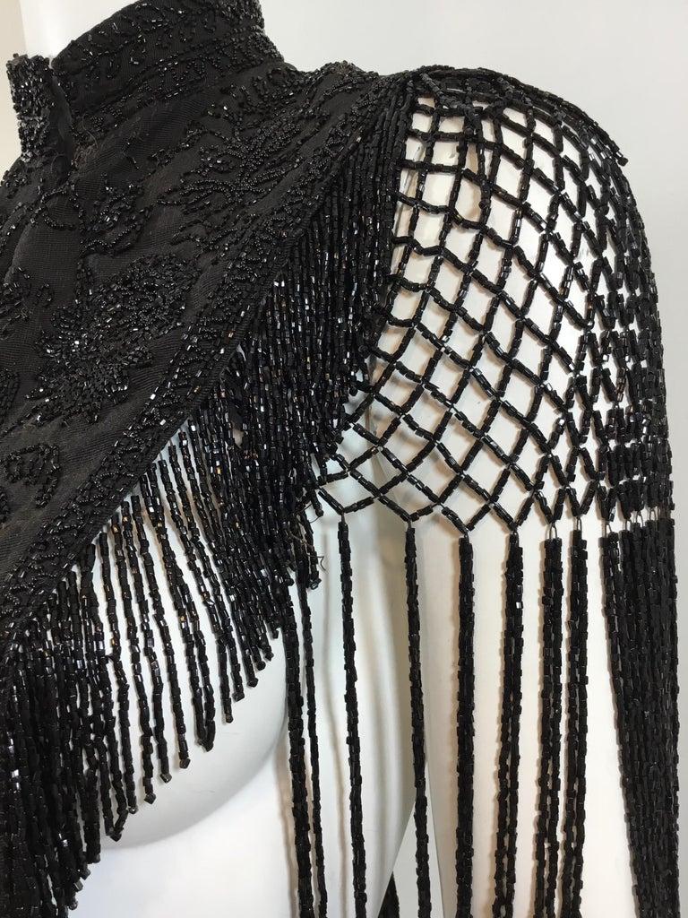 Women's or Men's Victorian Black Beaded Collar Circa 1890's For Sale