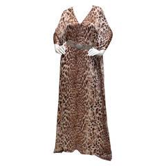 Badgley Mischka Leopard Animal Print Silk Crystal Belt Caftan Dress